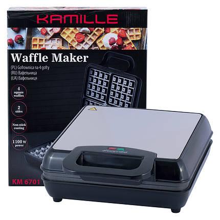 Вафельница электрическая Kamille с антипригарным покрытием 1100Вт KM-6701, фото 2