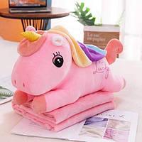 Детский плюшевый плед игрушка-подушка 3-в-1 Единорог розовый