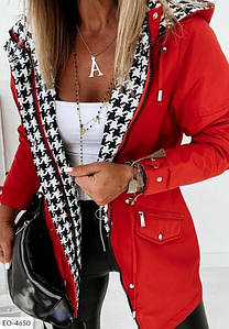 Женская двухсторонняя куртка с трендовым принтом. Ткань-плащовка,синтипон 200,Качество!Количество ограничено!