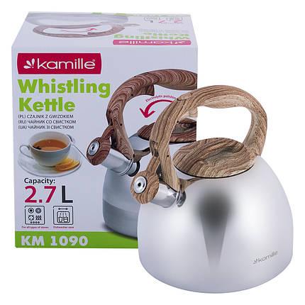 Чайник Kamille 2.7л из нержавеющей стали со свистком и бакелитовой ручкой KM-1090, фото 2