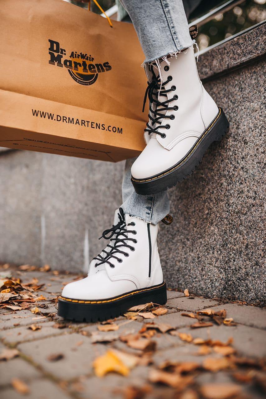 Женские ботинки Dr. Martens Jadon White Black (без меха)