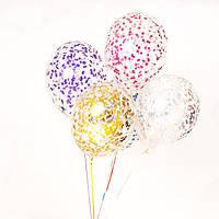 """Воздушный шар с гелием и конфетти (Квадратики) 12"""" (30 см.) (поштучно) на Оболони (Выбор цвета)"""