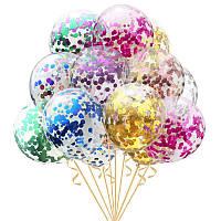 """Воздушный шар с гелием и конфетти (кружечки) 12"""" (30 см.) (поштучно) на Оболони (Выбор цвета)"""
