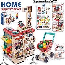 Дитячий супермаркет/магазин з візком. Сканера, ваги, гроші, фрукти/овочі 668-78