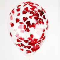 """Воздушный шар с гелием и конфетти (Сердечки) 12"""" (30 см.) (поштучно) на Оболони (Выбор цвета)"""