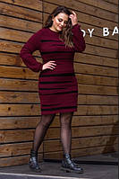 Теплое вязаное платье в полоску большой размер женское, фото 1