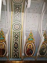 Художественная роспись потолка, арок и стен храма (фрагменты работ)