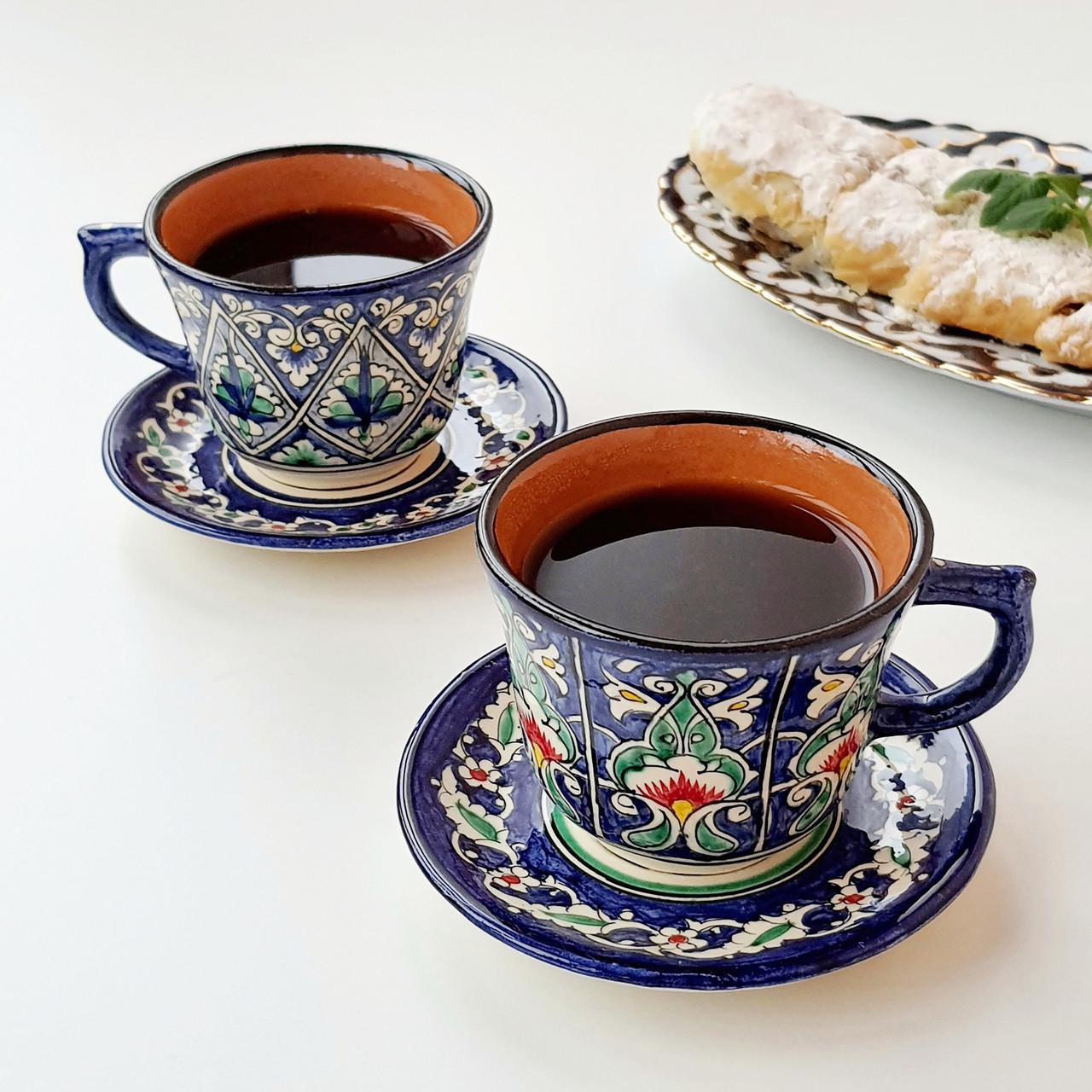 Кофейная чашка с блюдцем 100 мл ручной работы из Узбекистана (3)