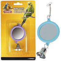 Іграшка для птахів Karlie-Flamingo mirrow round+bell кругле дзеркальце з дзвіночком, 6 см