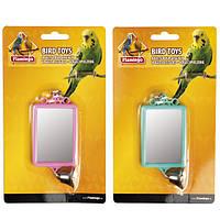 Іграшка для папужки Karlie-Flamingo mirror straight +bell квадратне дзеркальце з дзвіночком, 6*8 см