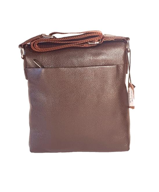 Мужская сумка через плечо из натуральной кожи Коричневая планшетка