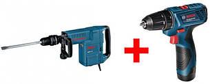 Отбойный молоток Bosch GSH 11 E + Аккумуляторная дрель-шуруповерт Bosch GSR 120-LI Professional (0611316708А)