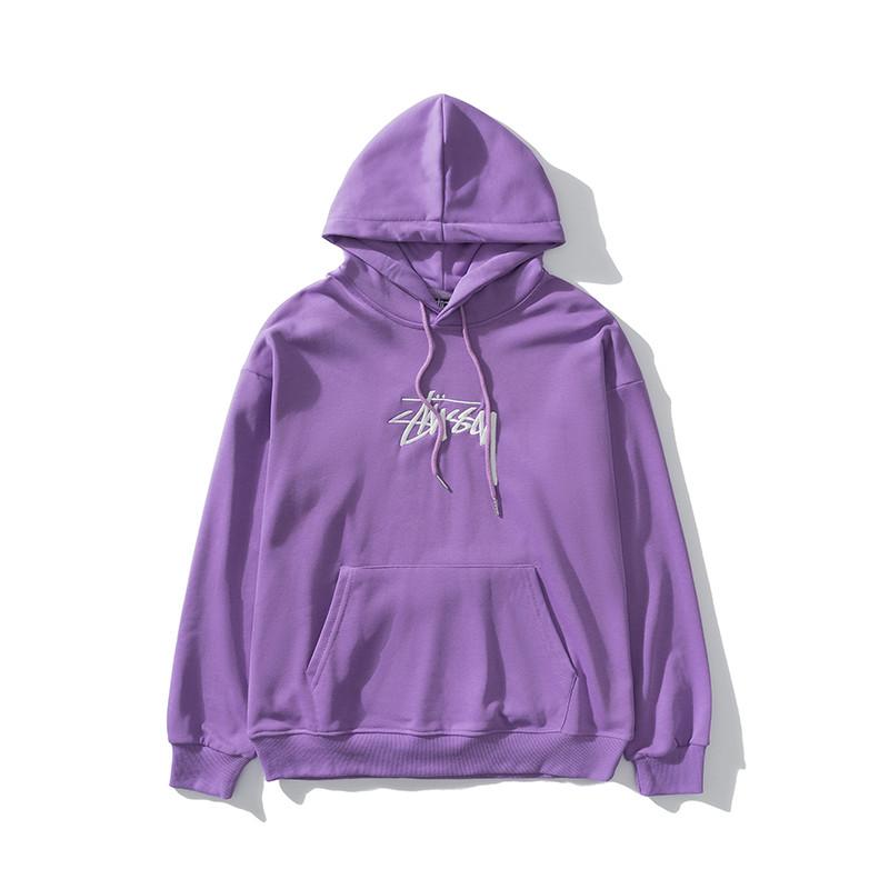 Худи Stussy фиолетовый (толстовка, кофта с капюшоном и вышитым логотипом стасси мужская женская)