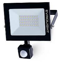 Прожектор світлодіодний EVROLIGHT 30Вт з датчиком руху EV-30D 6400К