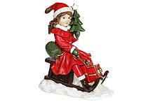 Декоративная статуэтка Девочка с ёлкой на санках, 22см, цвет - красный BonaDi 707-852