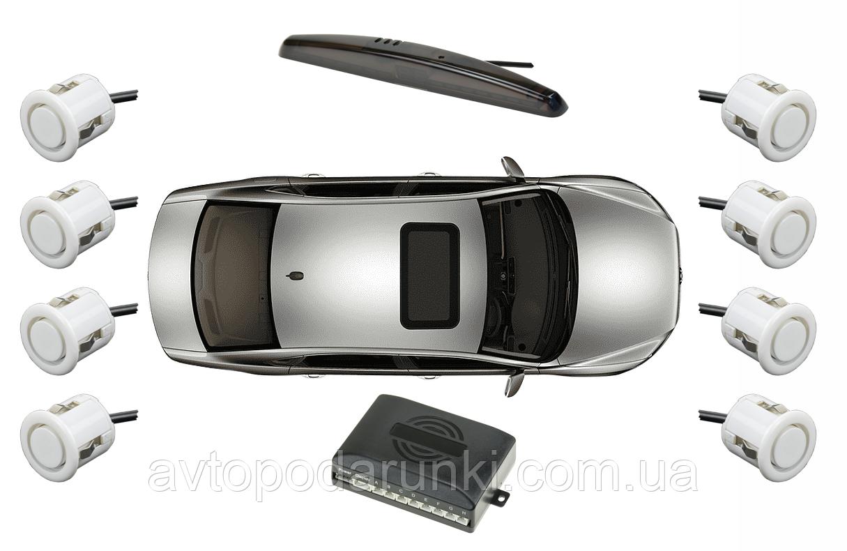 Парктронік на 8 сенсорів, паркувальна система для автомобіля ( датчики 8шт - білі)