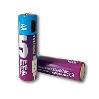 Аккумуляторные батарейки АА 1300Mah 1.5V с зарядкой Micro USB (Фиолетовый)