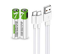 Комплект 2 шт. аккумуляторные батарейки Smartoools AAA 450 mah + зарядка Type-C (Зеленый)