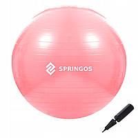 Мяч для фитнеса (фитбол) шар Springos 75 см Anti-Burst FB0012 розовый. Гимнастический мяч спортивный