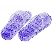 Тапочки массажные силиконовые для пляжа, душа, бассейна, сауны (фиолетовые, размер M)