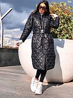 Стильне жіноче пальто, стьобана, чорне, 913-126