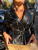 Женская кожаная куртка-косуха, размер М, фото 1