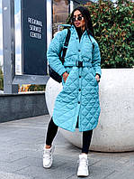 Стильне жіноче пальто, стьобана, м'ятний колір, 913-126-1