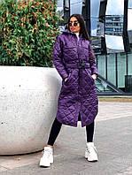 Стильне жіноче пальто, стьобана, фіолетовий колір, 913-126-2