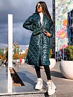 Стильне жіноче пальто, стьобана, зелений колір, 913-126-3
