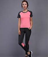 Спортивный женский костюм для фитнеса бега йоги. Спортивные лосины леггинсы топ для фитнеса Размер M (розовый)