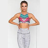 Спортивный женский костюм для фитнеса бега йоги. Спортивные лосины леггинсы топ для фитнеса. Размер M