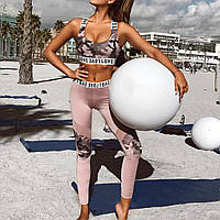Спортивный женский костюм для фитнеса бега йоги. Спортивные лосины леггинсы топ для фитнеса размер L (розовый)