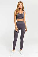 Спортивный женский костюм для фитнеса бега йоги. Спортивные лосины леггинсы топ для фитнеса, Размер L (серый)