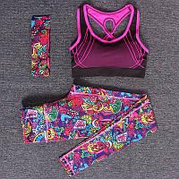 Спортивный женский костюм для фитнеса бега йоги. Спортивные лосины леггинсы топ для фитнеса, размер M