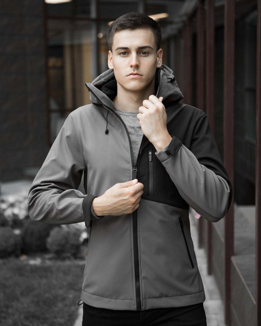 Мужская куртка Boris Pobedov (серая с черной вставкой) - фото 2