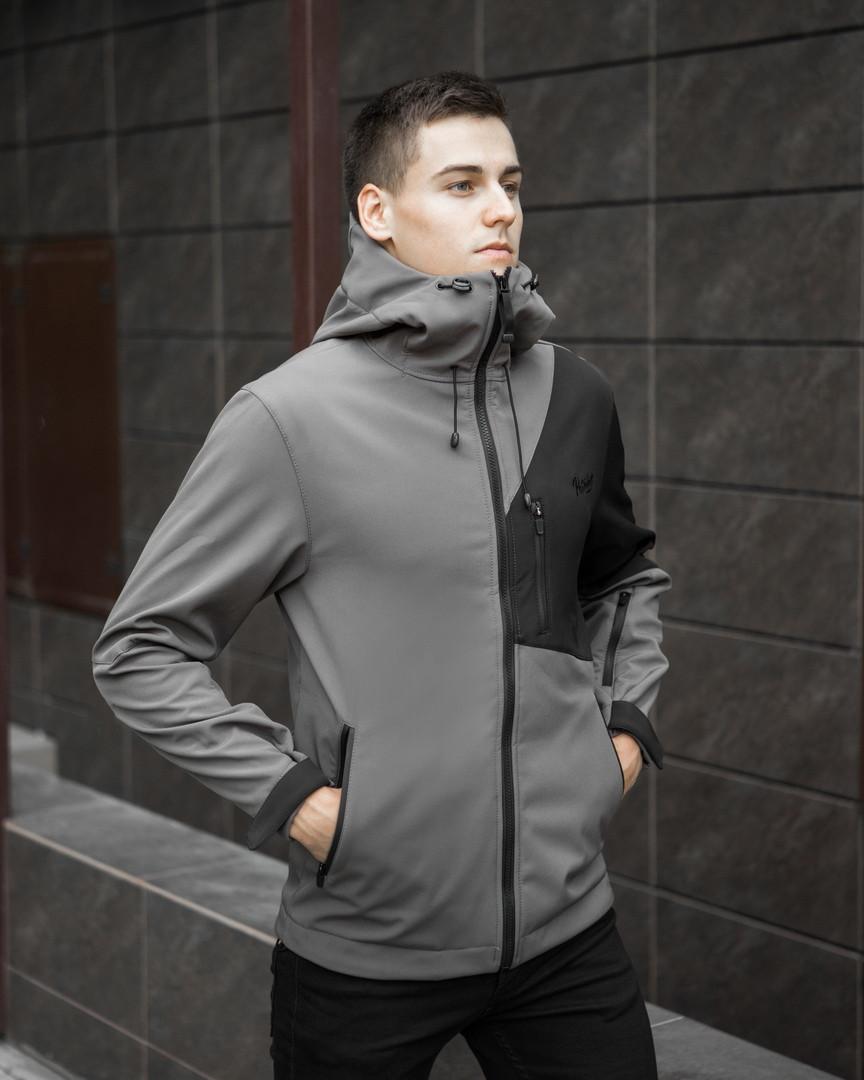 Мужская куртка Boris Pobedov (серая с черной вставкой) - фото 4
