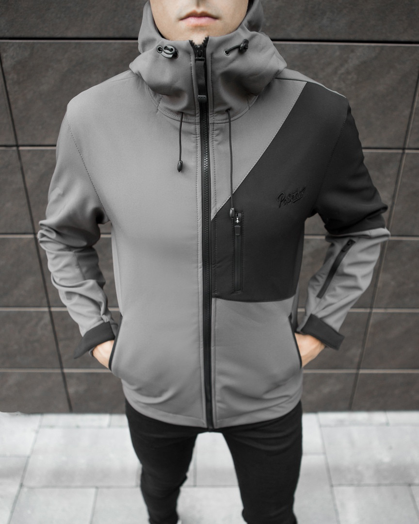 Мужская куртка Boris Pobedov (серая с черной вставкой) - фото 5