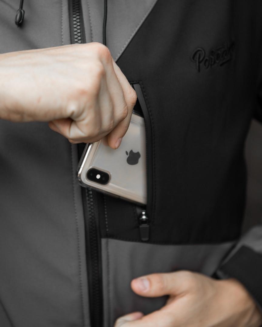 Мужская куртка Boris Pobedov (серая с черной вставкой) - фото 8