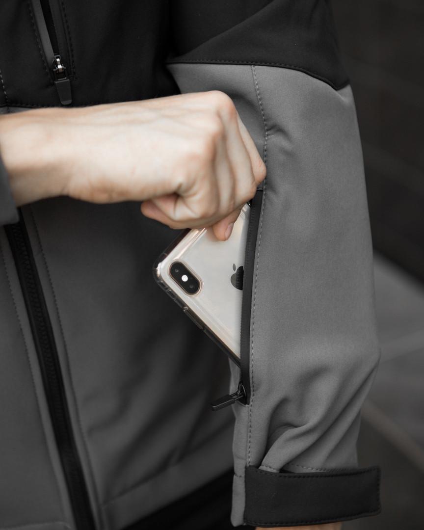 Мужская куртка Boris Pobedov (серая с черной вставкой) - фото 9
