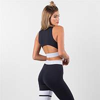 Спортивный женский костюм для фитнеса бега йоги. Спортивные лосины леггинсы топ для фитнеса. Размер M (черный)