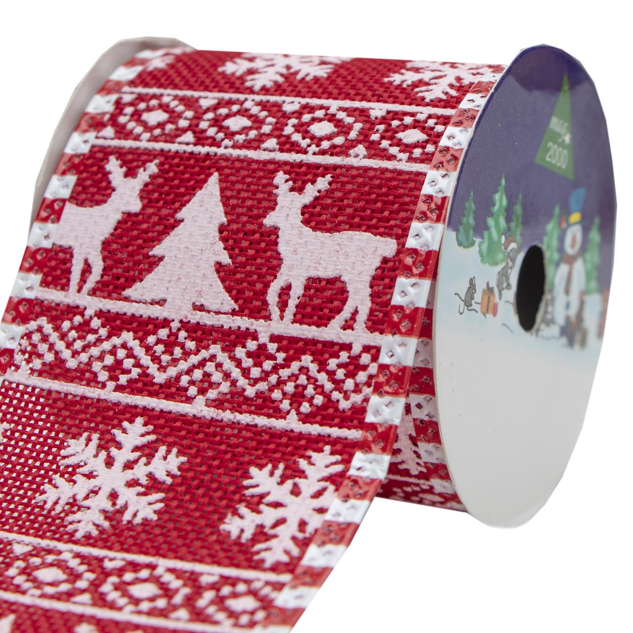 Декоративное украшение - ленточка в рулоне, 3 м, 6,3 см, красный, полиэстер (080556-4)