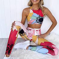 Спортивный женский костюм для фитнеса бега йоги. Спортивные лосины леггинсы топ для фитнеса, Размер L