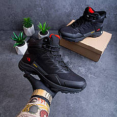 Мужские зимние кроссовки Т*ф высокие Pobedov (черные с красной подошвой), фото 2