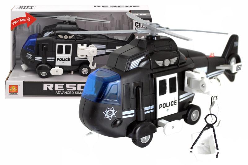 Инерционный пластиковый вертолет полиции Wenyi CITY Servise WY750С , свет, звук, масштаб 1:16