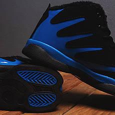 Мужские ботинки Альен фешн Pobedov (черные с синей вставкой), фото 2