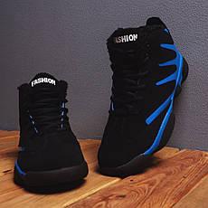 Мужские ботинки Альен фешн Pobedov (черные с синей вставкой), фото 3