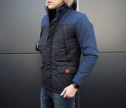 Куртка ALASKA зимняя мужская Pobedov (черная с синей вставкой), фото 3