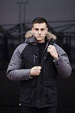 Куртка Парка зимняя мужская 'Seniora udacha' Pobedov (черная с серым), фото 2