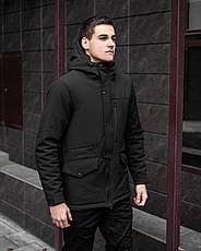 Куртка Парка зимняя мужская Soft Shell 'Tetris' Pobedov (черная), фото 2