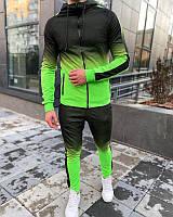 Весенний мужской спортивный костюм черный с неоново-зеленым - M, XL, 2XL
